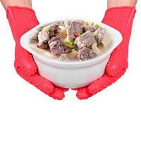 Силиконовая жаропрочная микроволновая перчатка митенка для современные кухни Красный