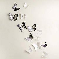 ЙС-43 18шт 3D Кристалл Бабочка стикер стены Белый и чёрный