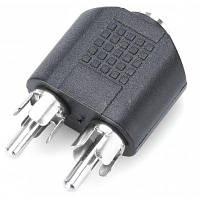 Аудио-разъем 3.5 мм Female к Dual Male RCA коннектор Чёрный
