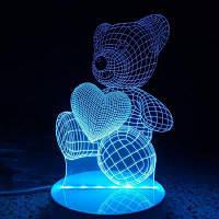 Сердце Медведь пульт дистанционного управления Acrylicnight света 3D Светильник таблицы стола СИД 20 x 15 x 9cм