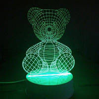 Медведь ночь легкие стол 3D LED настольная лампа RGB