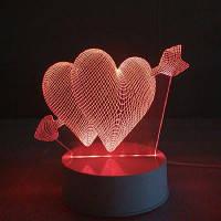 Купидон Ночной сердцах свет Сенсорный 3D Светильник таблицы стола СИД RGB