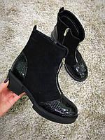 Стильные и комфортные ботиночки. Натуральная замша + кожа под рептилию.Стильные и комфортные ботиночки. Натура