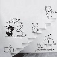 Лайма милые кошки шаблон Съемный стикер Чёрный