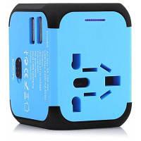 Универсальная всемирная розетка преобразования адаптер путешествия с двойным USB портом зарядки Синий