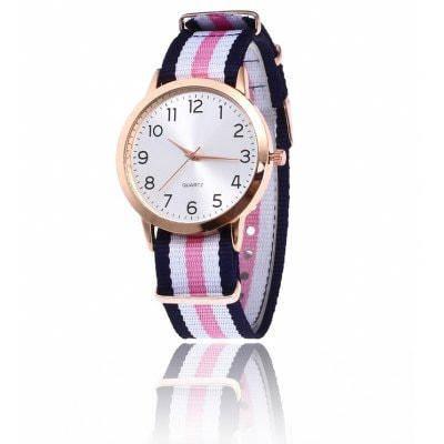 Красочные Холст Ремешок Кварцевые Часы - розовый + белый, фото 2