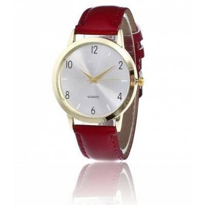 Простой PU ремешок Кварцевые часы - Красное вино, фото 2