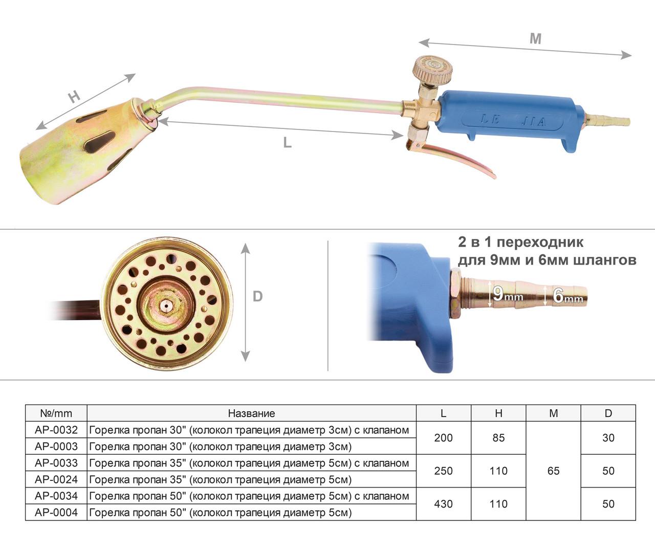 "Горелка пропан 35"" с клапаном  *колокол трапеция диаметр 5 см с клапаном*"