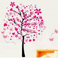 Розовый Персика Сливы Вишни Цветок Бабочка Винил Искусства Стены Термоаппликации 120 X 90cм