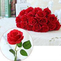 10 Отделение Шелковые розы Свадебные украшения партии Домашнее украшение Искусственные цветы Красный