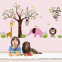 Мультфильм Слон обезьяна Лев стикер стены для детей номеров разные цвета