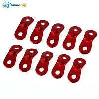 10шт ShineTrip крепеж для веревки из алюминиевого сплава с 2 отверстиями для палатки Красный