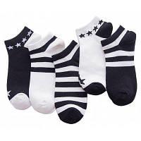 5 парных прохладных All-Match Breathable Crew Socks для мужчин Белый и чёрный