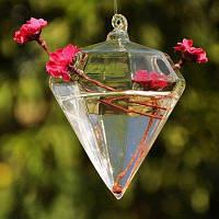 Подвесная стеклянная ваза в форме ромба для террариума Прозрачный