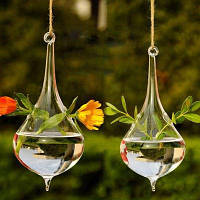 Подвесная стеклянная ваза в форме капли декор 1шт Прозрачный