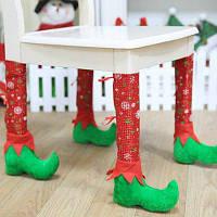 1шт Декоративный чехол для ножки стула с дизайном рождественских сапог Красный и зелёный