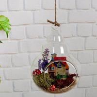 Стеклянная ваза для в форме тыквы для домашнего декора Прозрачный