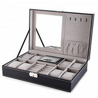 Многофункциональный 8 Часы Коробка Ювелирные Изделия Организатор Чёрный