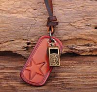 Кулон на кожаном шнурке Everiot NLP-DL-2073 с кожаной пластиной
