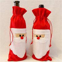 Дед Мороз 1 шт Красный мешок на шнурке для бутылки с дизайном санта-клауса рождественские украшения столовой стола домашняя вечеринка 74297