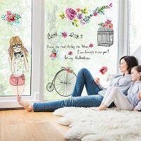 Лайма творческий теплый розовый девочка Декор стикер стены Цветной