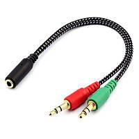 Микрофон для наушников Y разветвитель кабеля Чёрный