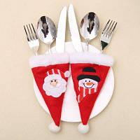 2шт Чехол для вилки и ножа с дизайном снеговика и санта-клауса на рождественской шлапе рождественские украшения
