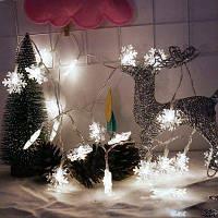 2M 20-светодиодная гирлянда из фонариков в форме снежинки с питанием от батареи для рождественских украшений белый свет