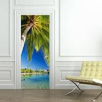 Сливовое дерево на морском дверь стена наклейки для детей комната украшение 77 x 200cм