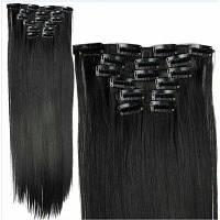 Клипы для наращивания волос прямые синтетические зажимы Чёрный
