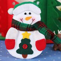 Творческий Рождественский Чулок Мешок Столовый Нож Вилка Держатель Узор Снеговика