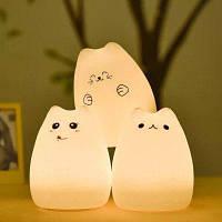 Светодиодный детский ночной свет в форме милой кошки управление чувствительным краном Популярный кот