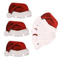 Рождественское украшение для шампанское-бокала с дизайном шляпы санта клауса праздничный декор 10шт Красный