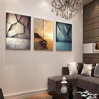 Красочные гостиной диван декоративной живописи абстрактные Бескаркасных Триптих 12 х 16 дюймов Цветной