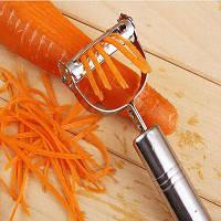 Овощечистка для картофеля / огурцов / моркови / помидоров / лука / арбуза 2 в 1 Серебристый