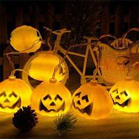 Светодиодная тыква для Хэллоуина с USB Черный и оранжевый