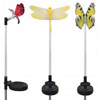 3шт солнечных волоконно-оптических изменения цвета Стрекоза Бабочка Колибри сад Кола свет черный и серебристый