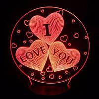 """3D лампа-светильник LED ночник """"I love you""""Меняет 7 цветов, фото 1"""