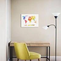 Карта Мира Картина Печать Холсте Вал Домашнее Украшение Цветной
