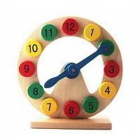 Творческая геометрическая деревянная цифровая игрушка-часы из блоков Цветной