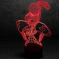 3D лампа-светильник СУПЕРГЕРОИ Человек паук(спайдермен)Объемные 3 D светильники с 7 вариантами подсветки! , фото 1