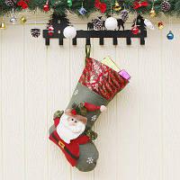 Рождественский декоративный мешок чулок для подарков дизайн Санта-Клаус Оливково-зеленый
