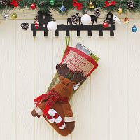 Рождественский декоративный мешок чулок для подарков дизайн лось Темно-коричневый