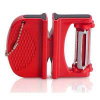 Двойная Функция Кухонная Утварь Точилки Нож Для Очистки Овощей Красный