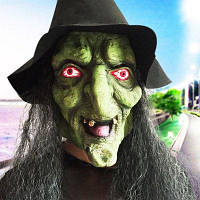 Лицо ведьмы страшная маска для Хэллоуина Чёрный и зелёный