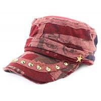 QingFang заклепки Звезда шаблон уникальный хлопок Бейсбол Hat для женщин Красный цвет (как у