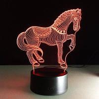 Yeduo 3D светодиодные светильники для животных Horse Zebra Настольная лампа USB Nightside Night Light Цветной