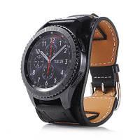 Натуральный кожаный браслет для наручных часов для Samsung Gear S3 Frontier 22мм Чёрный