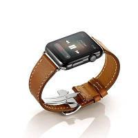 Однооборотный Ремешок из натуральной кожи с регулируемой застежкой для Apple Watch серии 3 2 1 38мм Коричневый