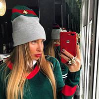 Женская теплая шапка,двойная вязка ,очень тёплая декорирована объемным шевроном